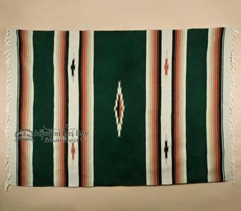 Woven Southwestern Style Diamond Blanket 5x7 -Hunter Green