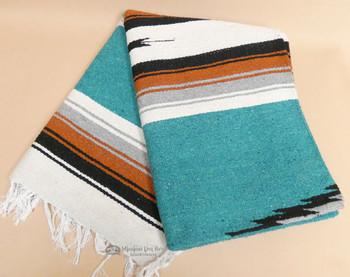 Woven Southwestern Diamond Blanket 5x7 -Teal