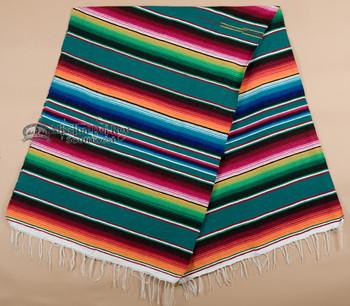 Southwest Mexican Serape Blanket 5'x7' -Teal