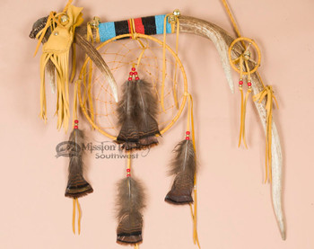 Tigua Indian Dreamcatcher Spirit Stick - Elk Antler