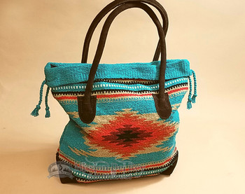 Southwest Rug Style Turquoise Tote Bag 17x17 (mont-g)