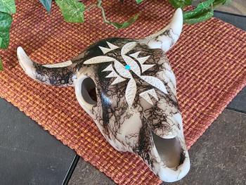 Navajo Horse Hair Pottery Steer Skull