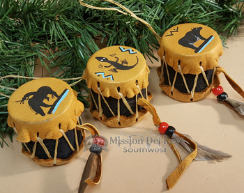 Navajo Hand Painted Drum Ornament Set