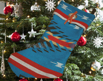 Southwest Concho Christmas Stocking -Maricopa Blue