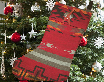 Southwest Native Design Christmas Stocking with Concho