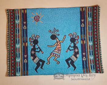 Southwestern Tapestry Placemat -Kokopelli Turquoise