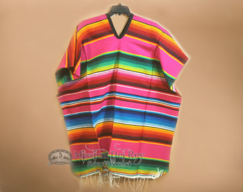 Mexican Style Serape Poncho -Pink