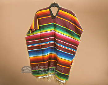 Mexican Style Serape Poncho -Burgundy