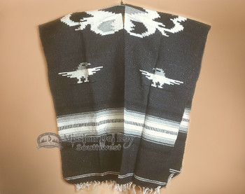 Mexican Style Blanket Poncho -Black