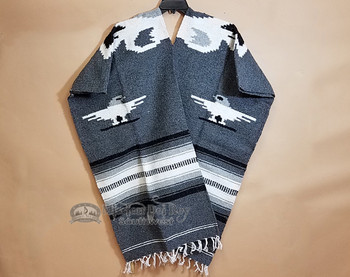 Mexican Style Blanket Poncho -Dk. Grey