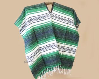 Mexican Falsa Blanket Poncho -Green