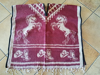 Mexican Style Horses Blanket Poncho -Burgundy