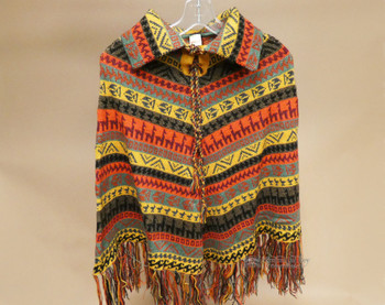 Knit Alpaca Collared Poncho