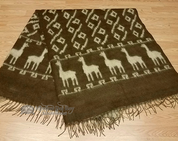 Soft Alpaca Row Blanket -Brown