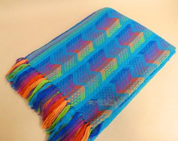Multi-Color Fringed Alpaca Blanket 64x80