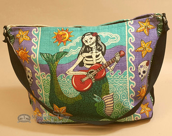 Southwestern Day of the Dead Purse - Mermaid Playing Guitar