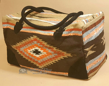 Native Southwestern Design Weekender Rug Bag -Brown