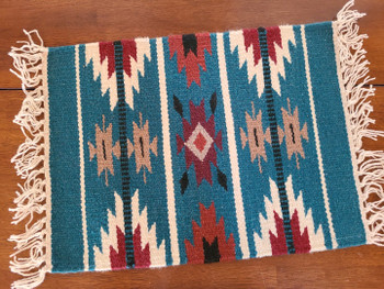 Southwestern Handwoven Wool Placemat - Turquoise
