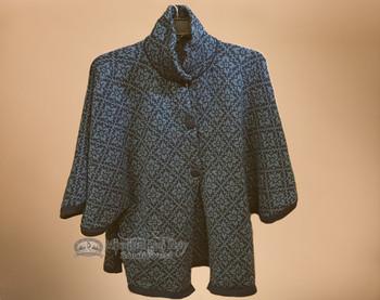 Alpaca Button Cape - Blue