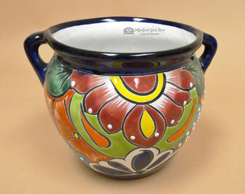 Hand Painted Talavera Handled Pot