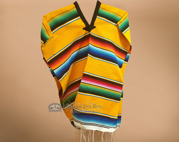 Youth Size Mexican Style Serape Poncho- Yellow