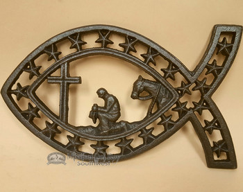 Southwestern Metal Art Trivet - Cowboy At The Cross