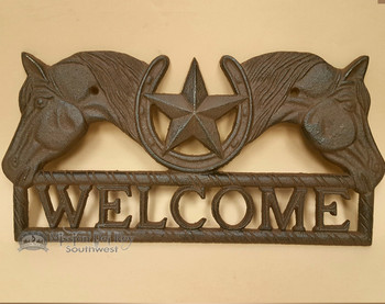 Rustic Metal Art With Texas Star - Welcome Horses