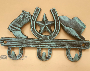 Southwestern Metal Art Hook - Hat, Star, and Cowboy Boot