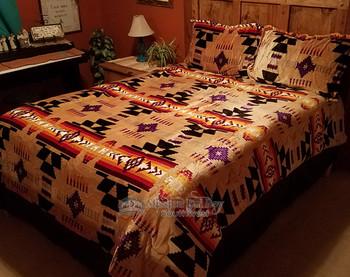 Southwestern Sherpa Comforter Bed Set -Carmel