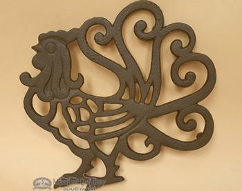 Rustic Metal Art Rooster Trivet