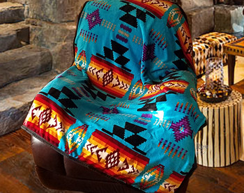 Plush Sherpa Silk Touch Throw -Turquoise