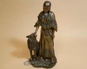Southwestern Bronze Sculpture - Indian Woman & Wolf