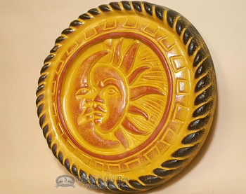 Rustic Southwestern Painted Clay Sun - Yellow