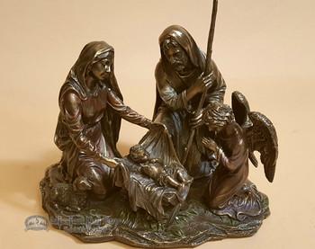 """Bronze Rustic Western Statue 7.5"""" - Nativity Scene"""