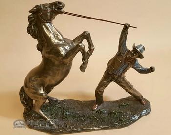 "Bronze Rustic Western Statue 12"" - Cowboy Taming Horse"