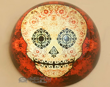 """Round Glass Paper Weight- Day of The Dead Skull 3.25"""""""