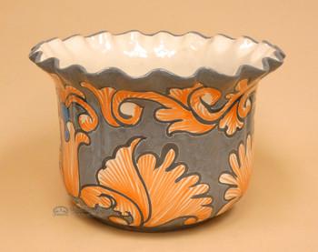 Mexican Hand Painted Talavera Pot - Grey