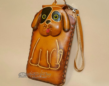 Western Hand Tooled Leather Phone Case - Tan Dog
