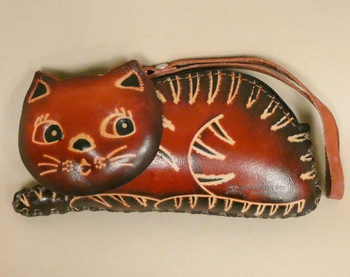 Rustic Western Hand Tooled Leather Coin Purse - Red Cat