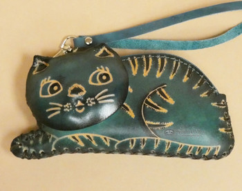 Hand Tooled Leather Coin Purse -Teal Cat