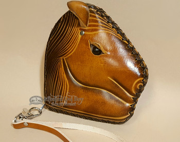 Rustic Western Hand Tooled Leather Coin Purse -Horse Head