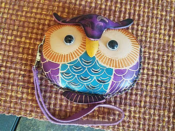Tooled Leather Coin Purse - Owl