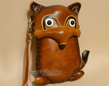 Hand Tooled Leather Southwestern Coin Purse - Tan Fox