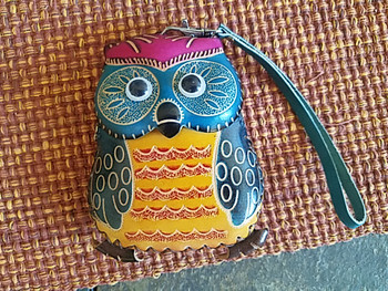 Tooled Leather Coin Purse - Blue Owl
