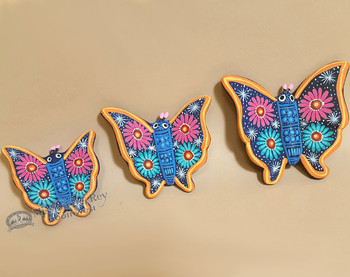 Hand Painted Southwestern Butterflies -Set of 3 Blue