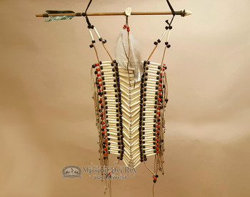 Navajo Indian Beaded Bone Breast Plate - Red and Black