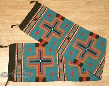 Southwestern Wool Table Runner 16x80 - Turquoise/Black