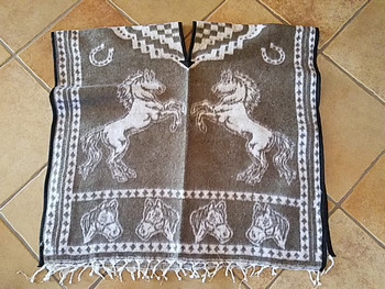 Mexican Style Horses Blanket Poncho - Brown