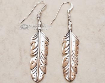 Native American Silver Earrings -Navajo- Single Feather