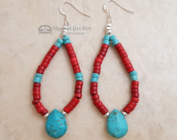 Native American Navajo Beaded Earrings - Turquoise